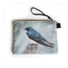 Sky Blue Tree Swallow Double Sided Zippered Carry-All with Wrist Strap