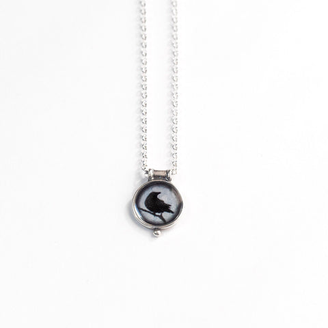 WATCHFUL CROW - Miniature Pendant, Silver and Resin