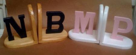 Bookends - hand-crafted wood initials