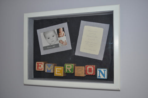 Custom keepsake birth announcement shadowbox