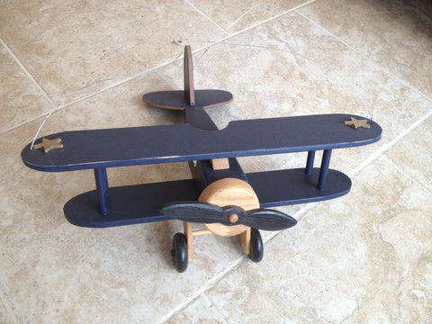 Hand-crafted large wood hanging airplane