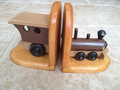 Bookends - hand-crafted wood train