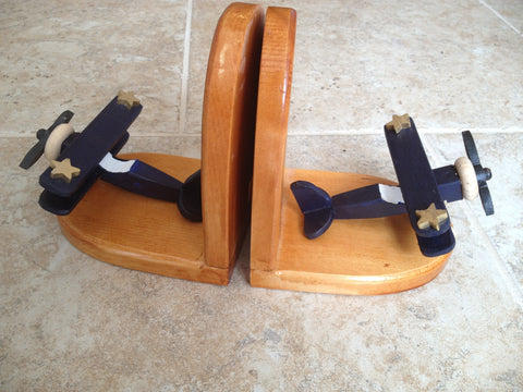 Bookends - hand-crafted wood airplane