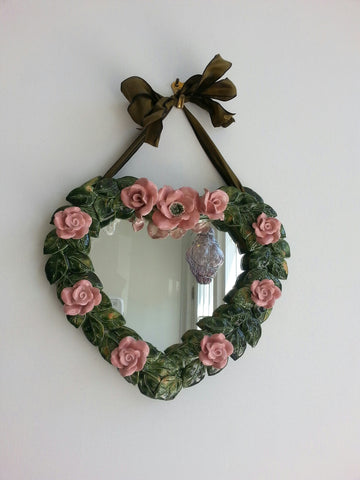 Hand made ceramic heart mirror