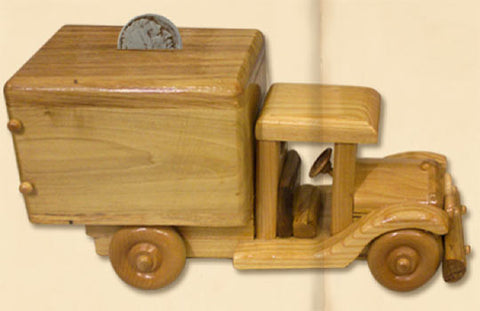 Bank - hand-crafted wood truck