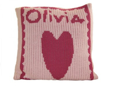 Personalized knit name pillow