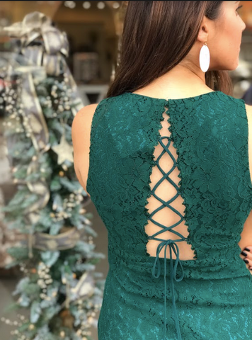 Always Love Emerald Lace Dress Backview