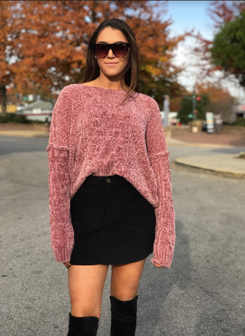 Classic Pink Chenille Sweater
