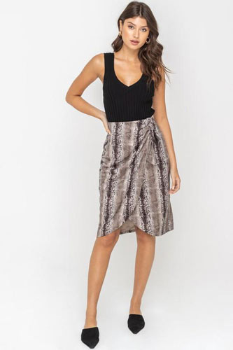 snakeskin print wrap around skirt