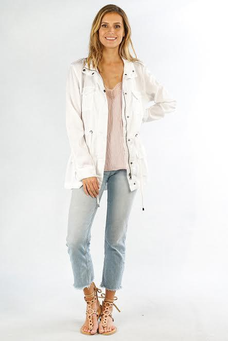 Spring Fever White Tencel Cargo Jacket