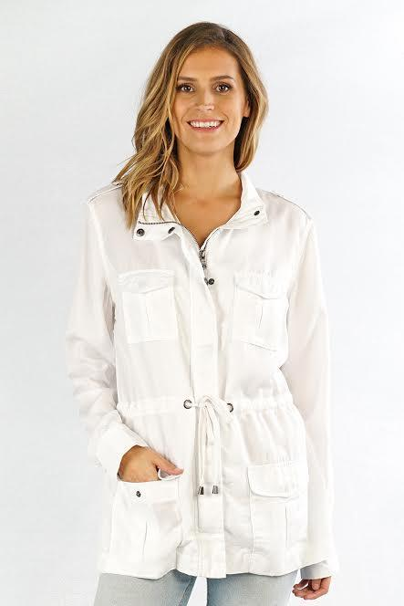 Spring Fever White Tencel Cargo Jacket Jackets Lovestitch