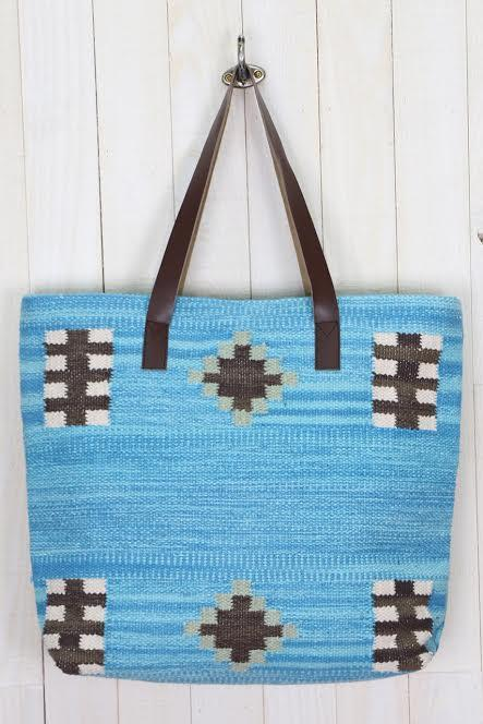 Ikat Inspired Tote Blue & Pink