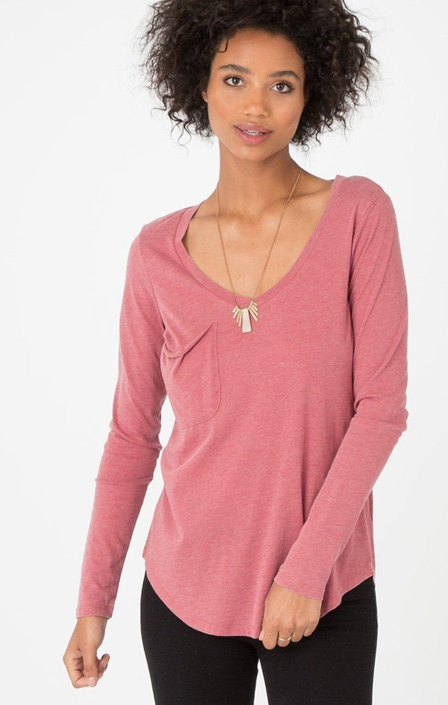 Z Supply Long Sleeve Pocket Withered Rose Tee