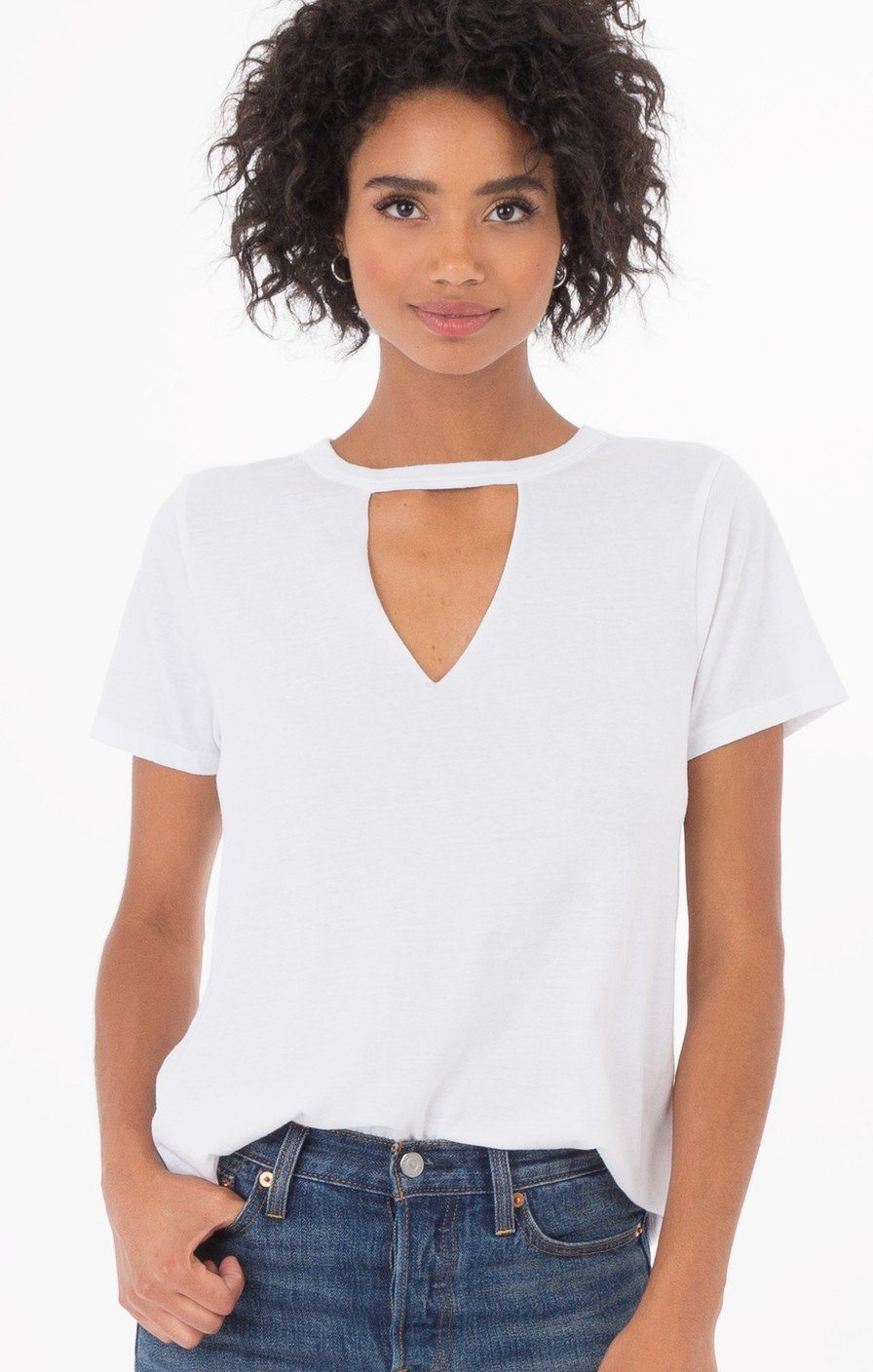 Z Supply Cut -Out White Tee