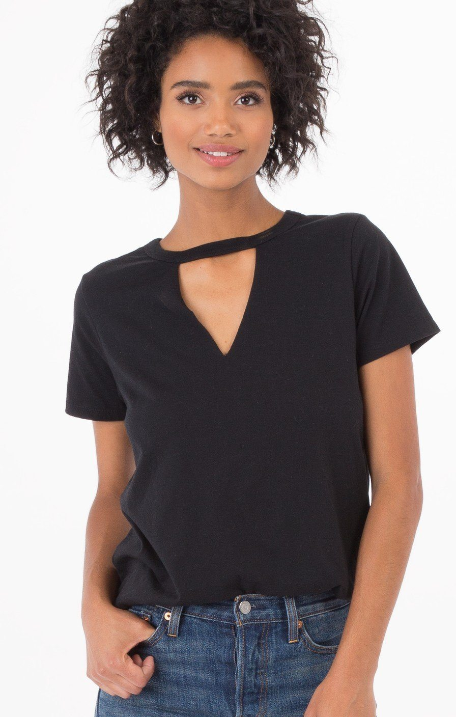 Z Supply Cut -Out Black Tee