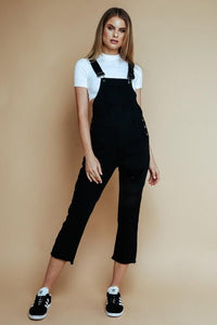 Austin Black Distressed Overalls Process Olivaceous
