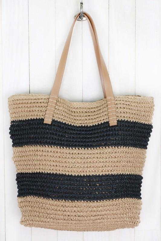 Straw Striped Crochet Tote Bag-Black/Brown