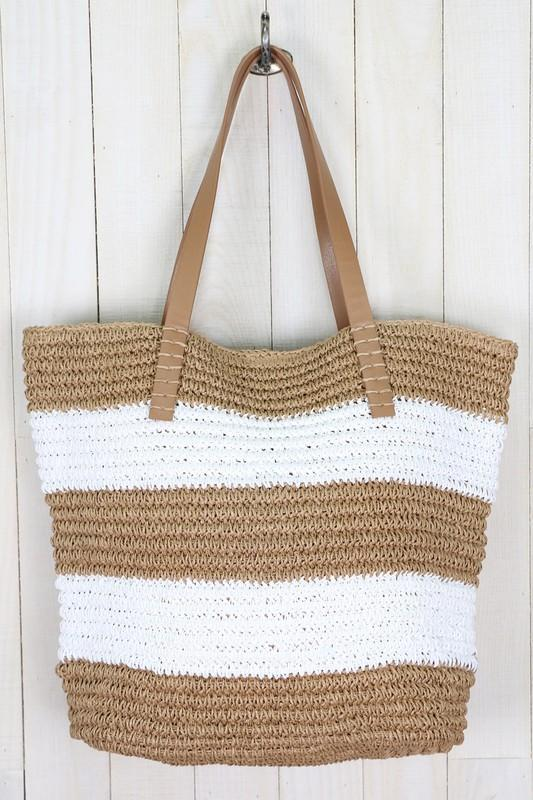 Straw Striped Crochet Tote Bag-White/Brown Bags Lovestitch