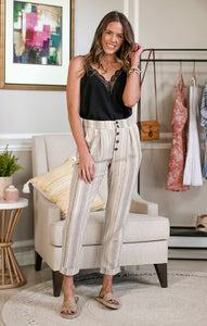 Lauderdale Linen Pants Pants Final Touch Small Oatmeal
