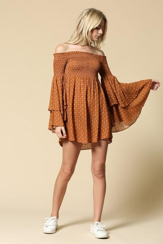 Faren Smocked Rust Dress Dresses Illa Illa