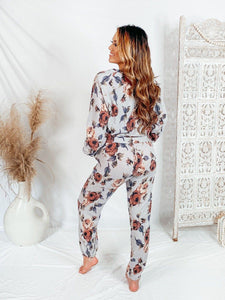 Night Rider Floral Comfy Joggers Bottoms Olivaceous
