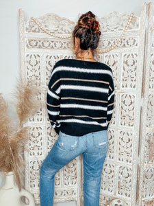 Trendsetter Striped Sweater Sweaters Lily Clothing