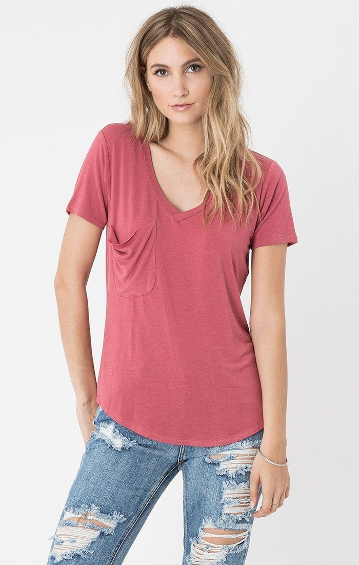 Z Supply Sleek Jersey Pocket Tee Z Supply Z Supply Small Earth Red