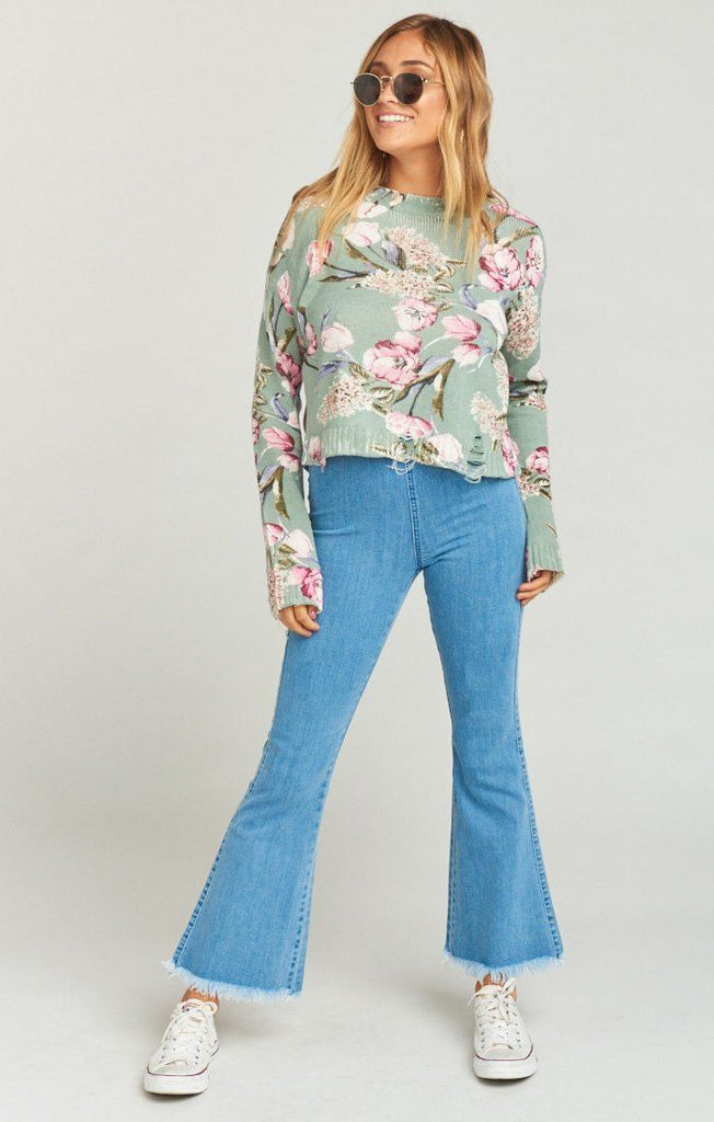 Show Me Your Mumu Cropped Varsity Sweater - Primavera Floral Knit