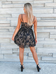 Just Me Mini Lace Dress - Black Dresses Just Me