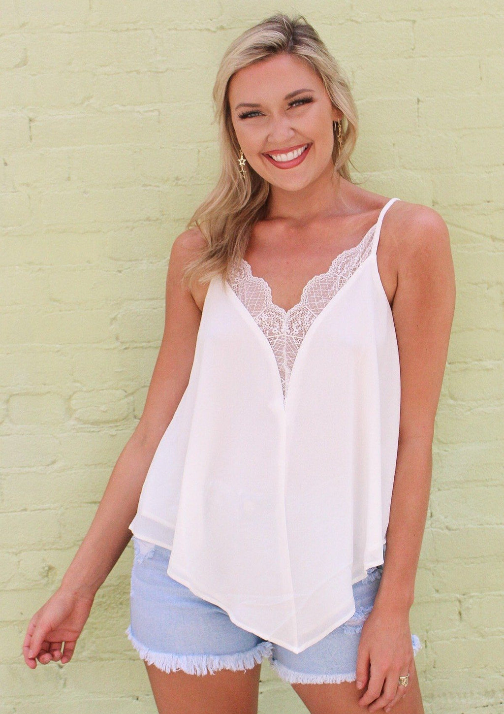 Lace Me Up White Cami Dakotas Boutique