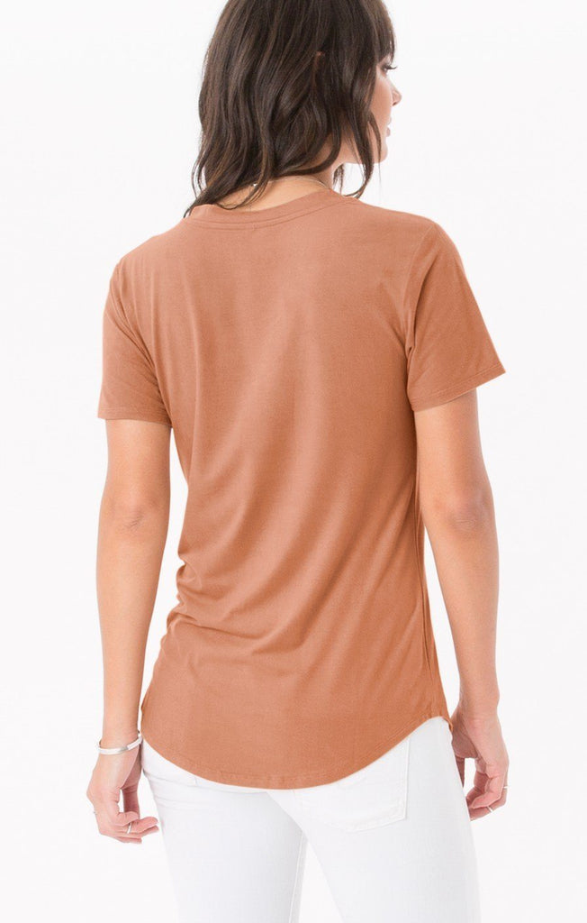 Z Supply Suede Pocket Gognac Tee