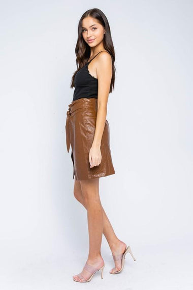 Chloe Faux Leather Mini Skirt Skirts Oliveaous Small Brown