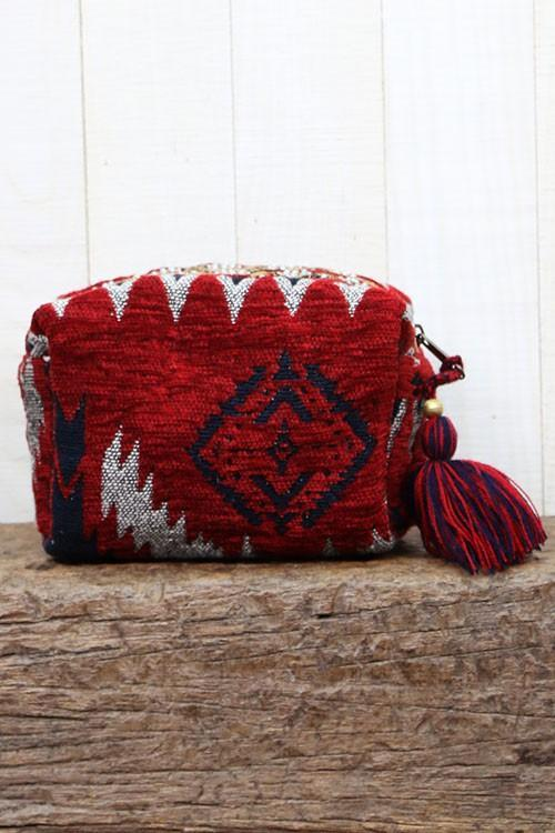 Velveteen Ikat Makeup Bag