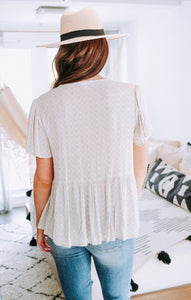Clio Natural Grey Crinkle Top Tops Final Touch