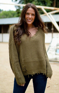 Distressed Out Sweater Sweaters Wishlist S/M Olive