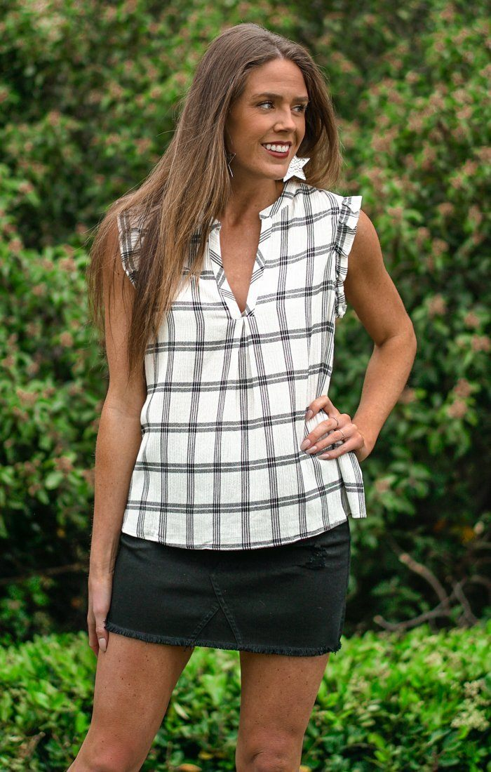 Key To Me Plaid Tops Lovestitch Small Ivory/Black