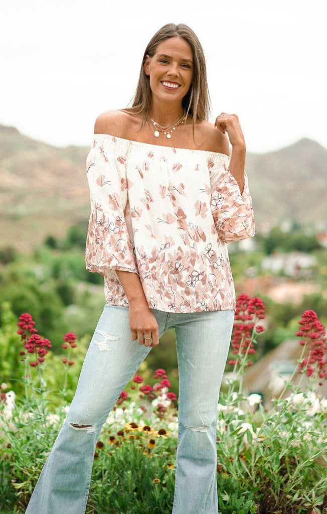 Splendid Smock Rose Top