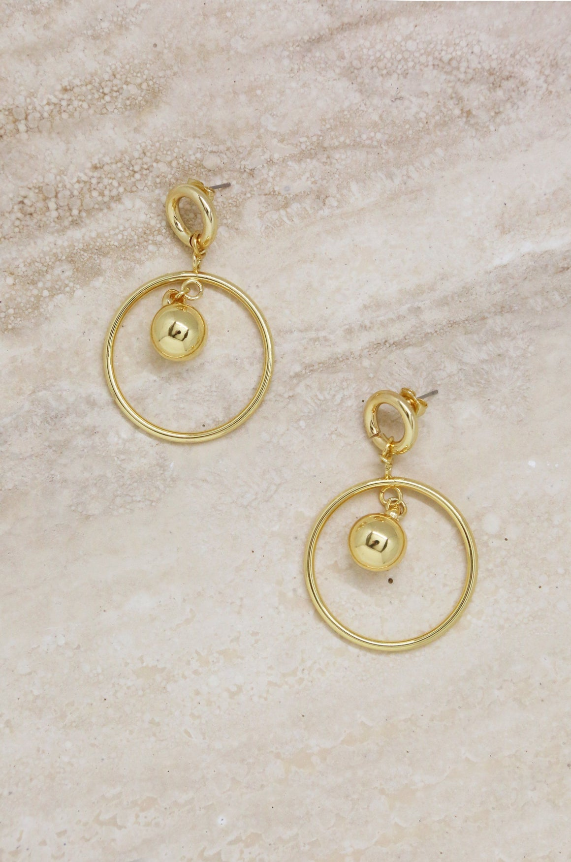 Ball Drop Hoop Earrings in Gold
