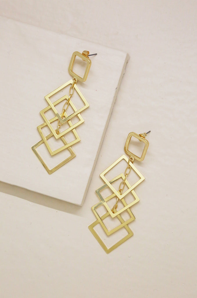 Dangling Diamond Shape Drop Earrings in Gold