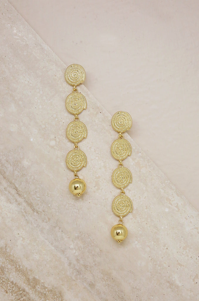 Gold Swirl Coin Drop Earrings Jewelry Etikka