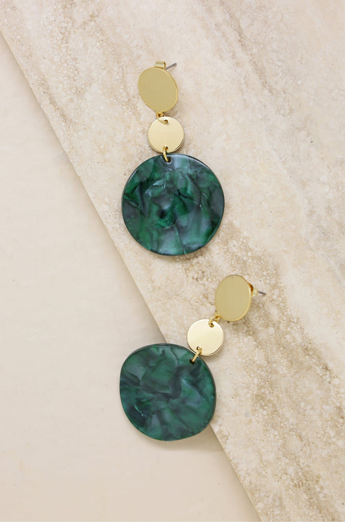 London Resin Drop Circle Earrings in Green & Gold