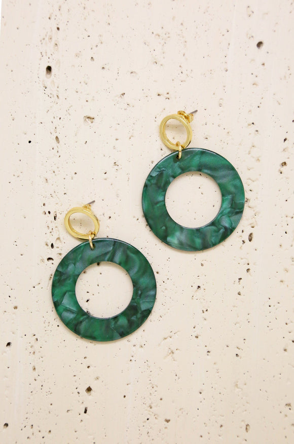 Green Resin Hoops in Gold