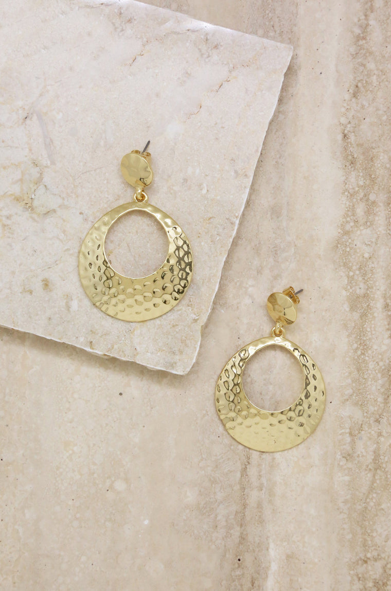 Textured Drop Hoop Earrings in Gold