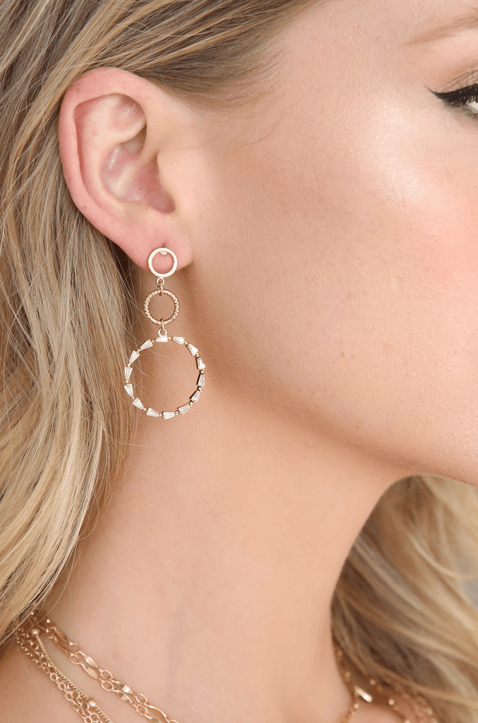 Dropping In Crystal Hoop Dangle Earrings