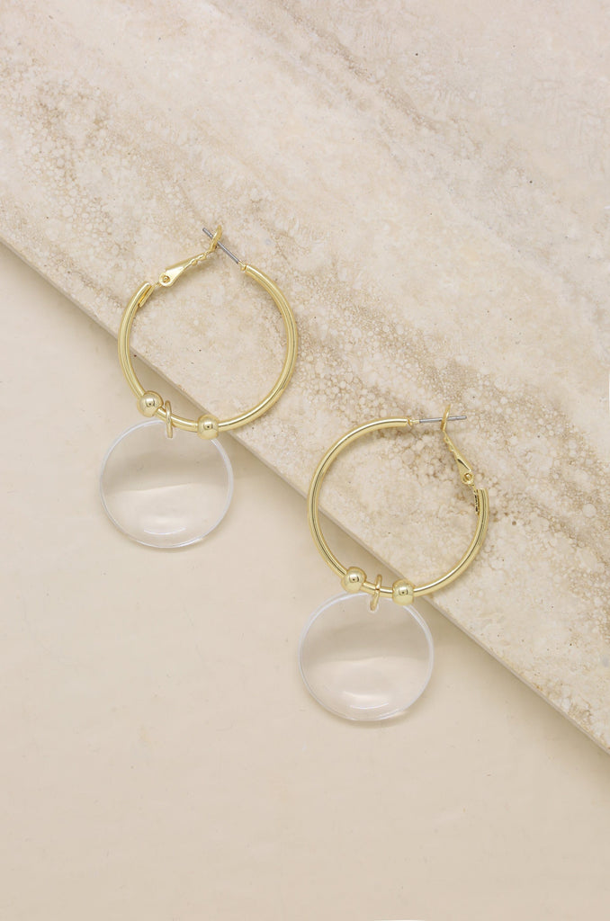 Clear Resin Circle Hoops in Gold
