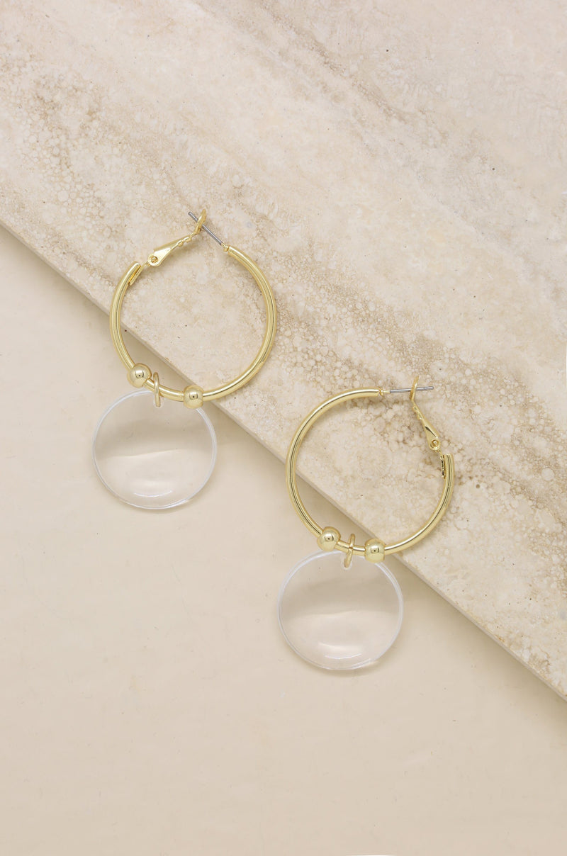 Clear Resin Circle Hoops in Gold Jewelry Etikka