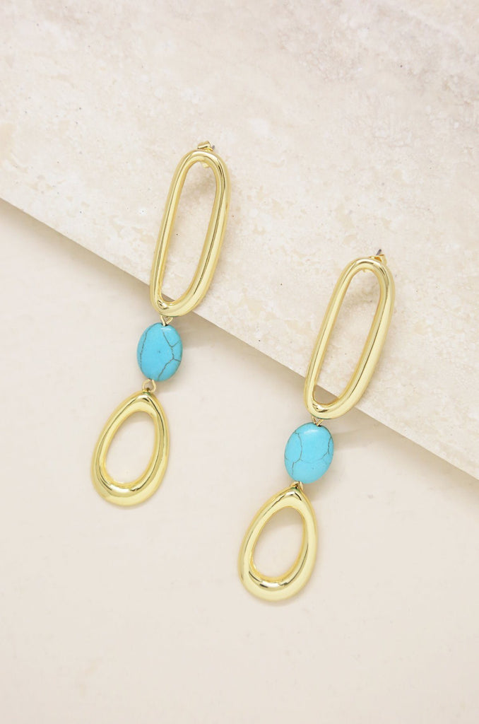 Cleopatra Turquoise and Gold Drop Earrings