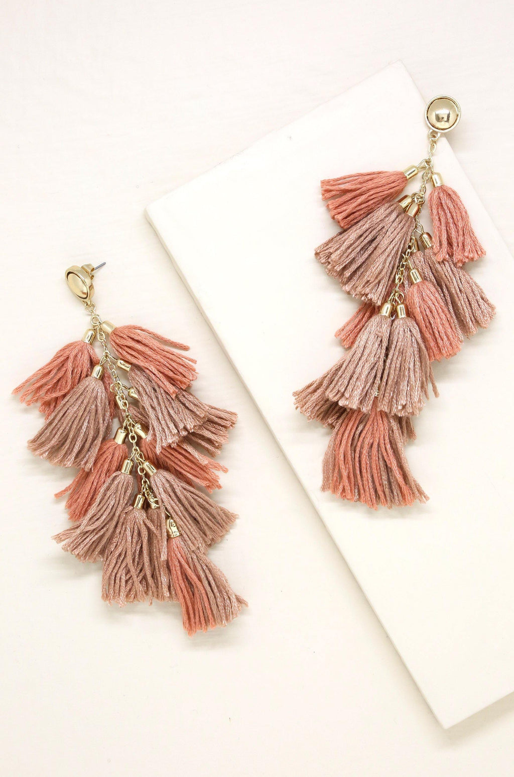 Time to Tassel Earrings in Taupe and Gold Jewelry Etikka