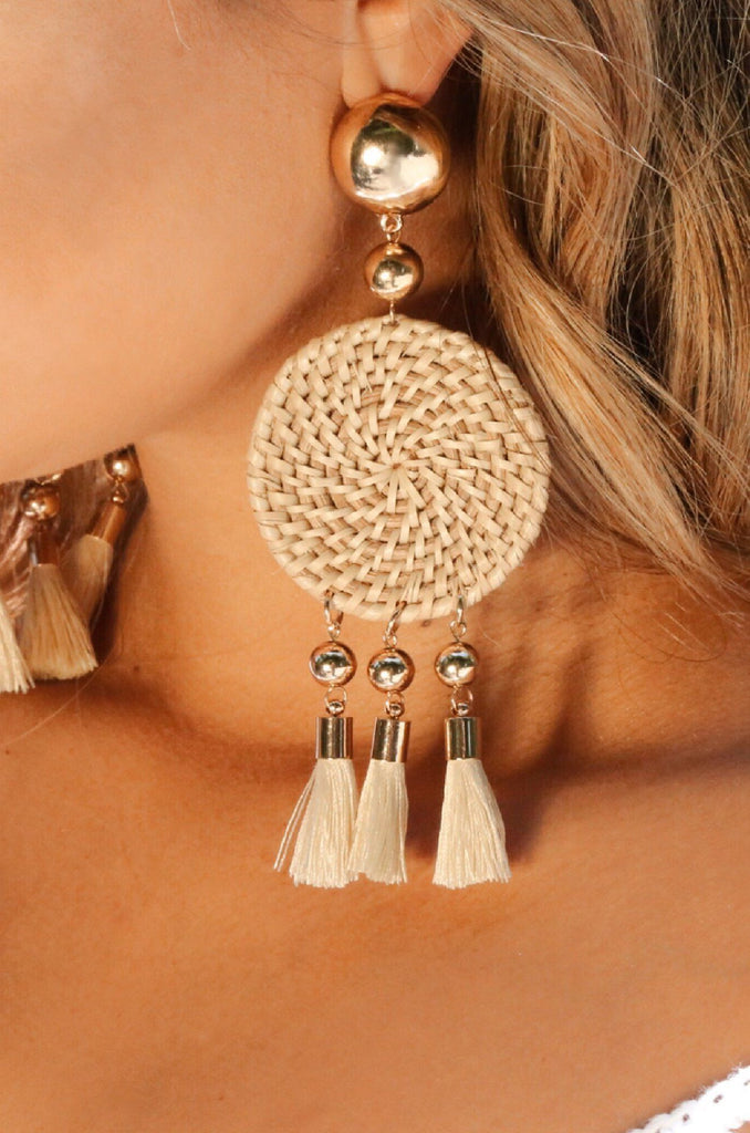 Boho Woven Earrings with Cream Tassels and Gold