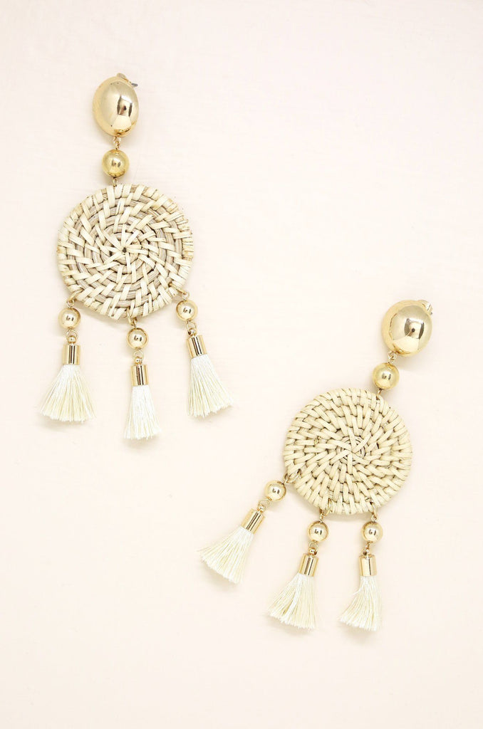 Boho Woven Earrings with Cream Tassels and Gold Jewelry Etikka